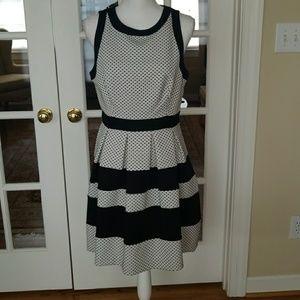 Elle black and white polka dot  dress size 10